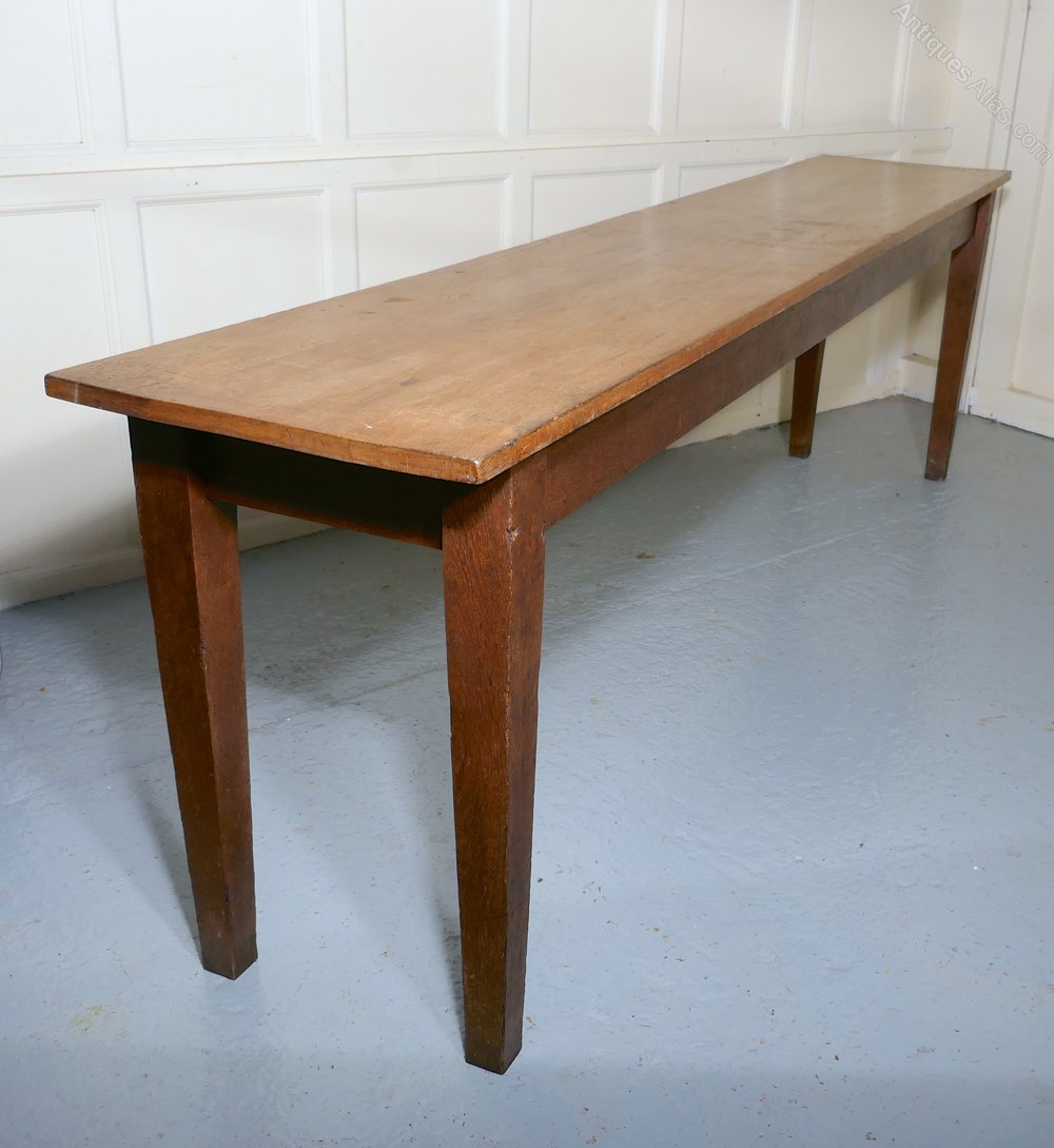 Long Dining Tables For Sale: Long Narrow Golden Oak Farmhouse Kitchen Table