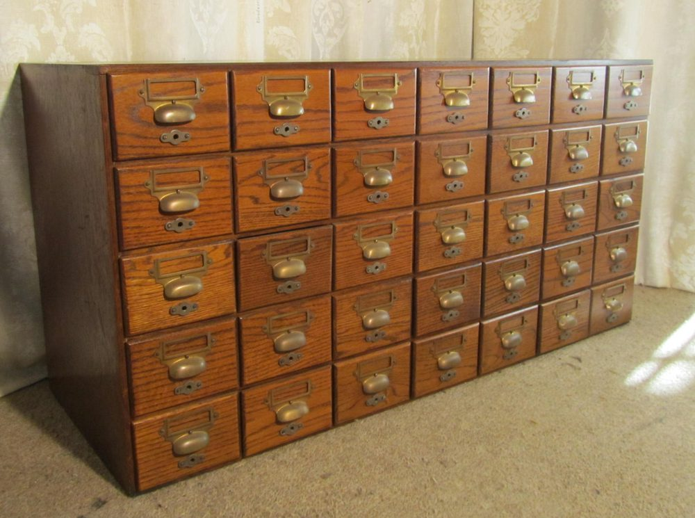 Oak 35 Drawer Card Index Filing Cabinet