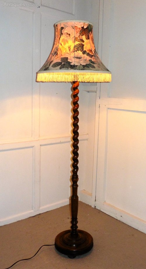 Antiques Atlas Oak Barley Twist Floor Standing Standard Lamp