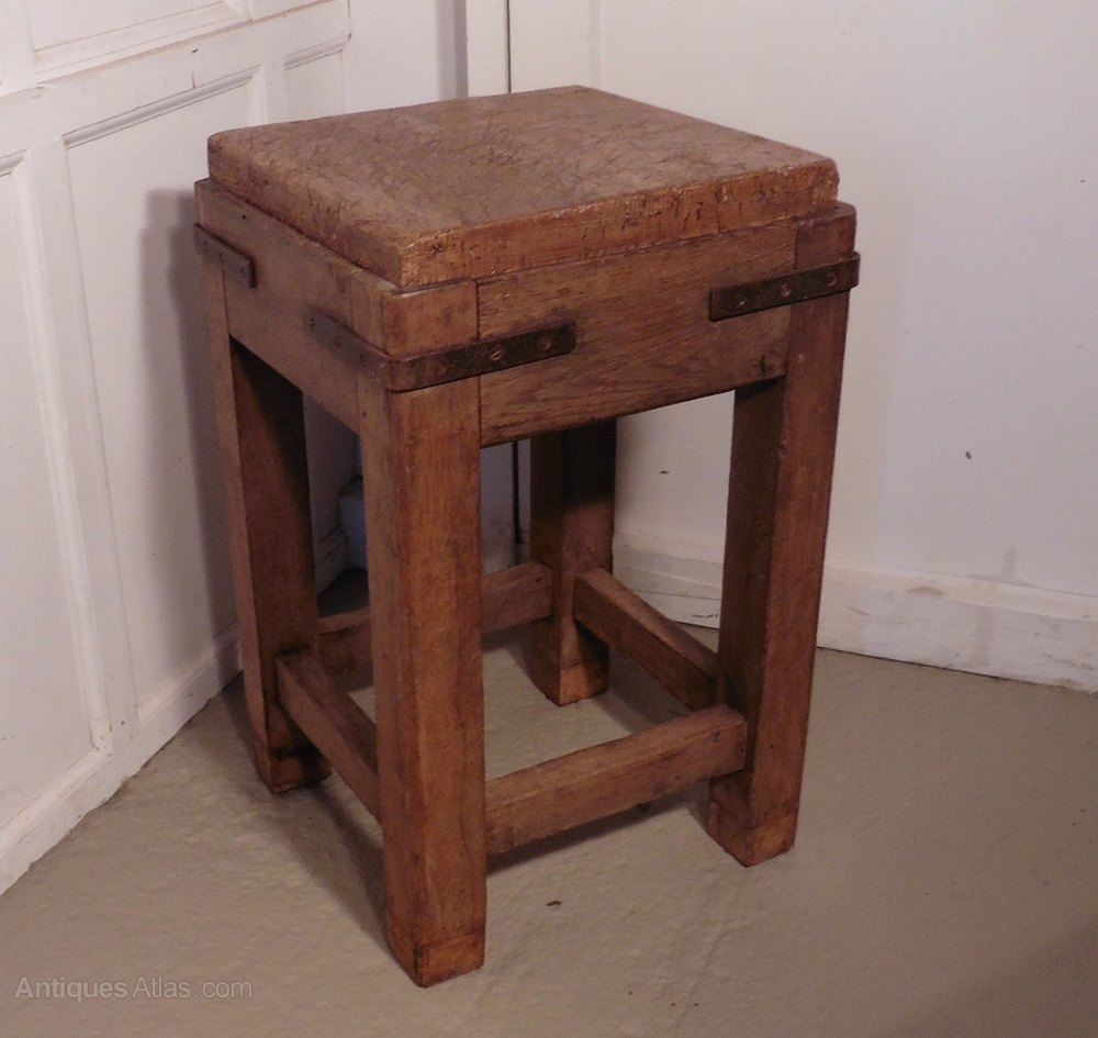 Rustic Wood Chopping Block Top Kitchen Island For Sale