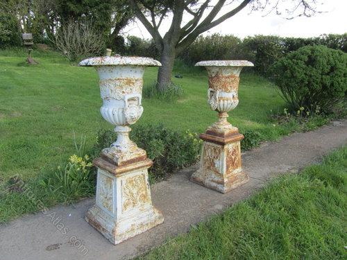 Pair Large Victorian Cast Iron Urns