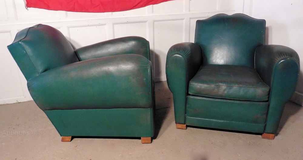 Pair Of French Art Deco Leather Club Chairs Green Antique Armchairs Occasional Stools Alt5