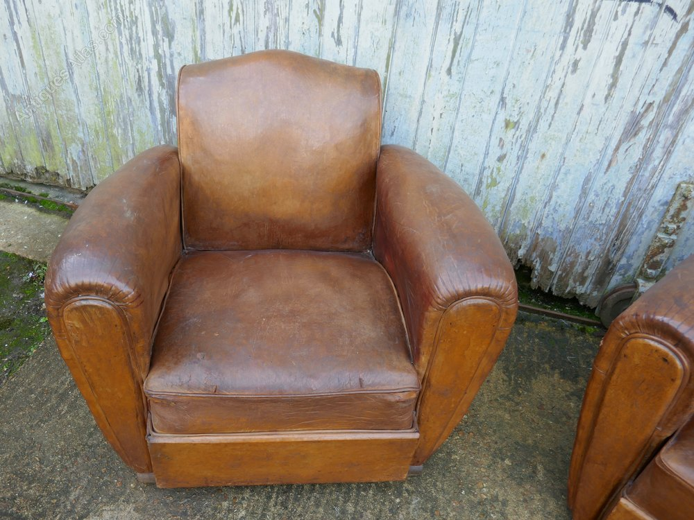 pair of french art deco shabby leather club chairs. Black Bedroom Furniture Sets. Home Design Ideas
