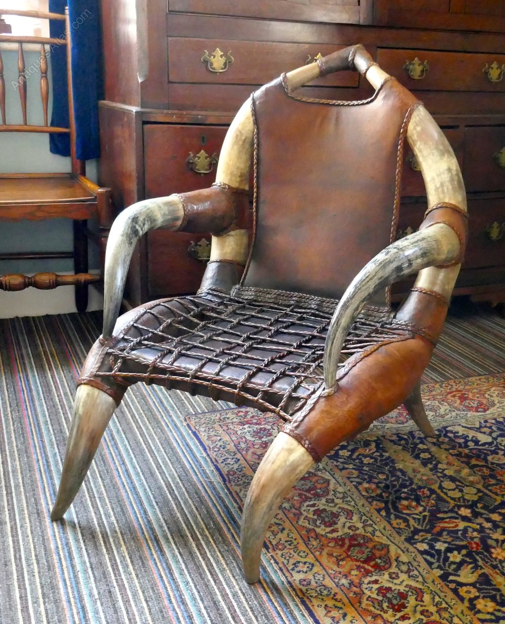 This pair of large burmese arm chairs is no longer available - Photos Pair Of Large Bull Or Cow Horn Leather Arm Chairs