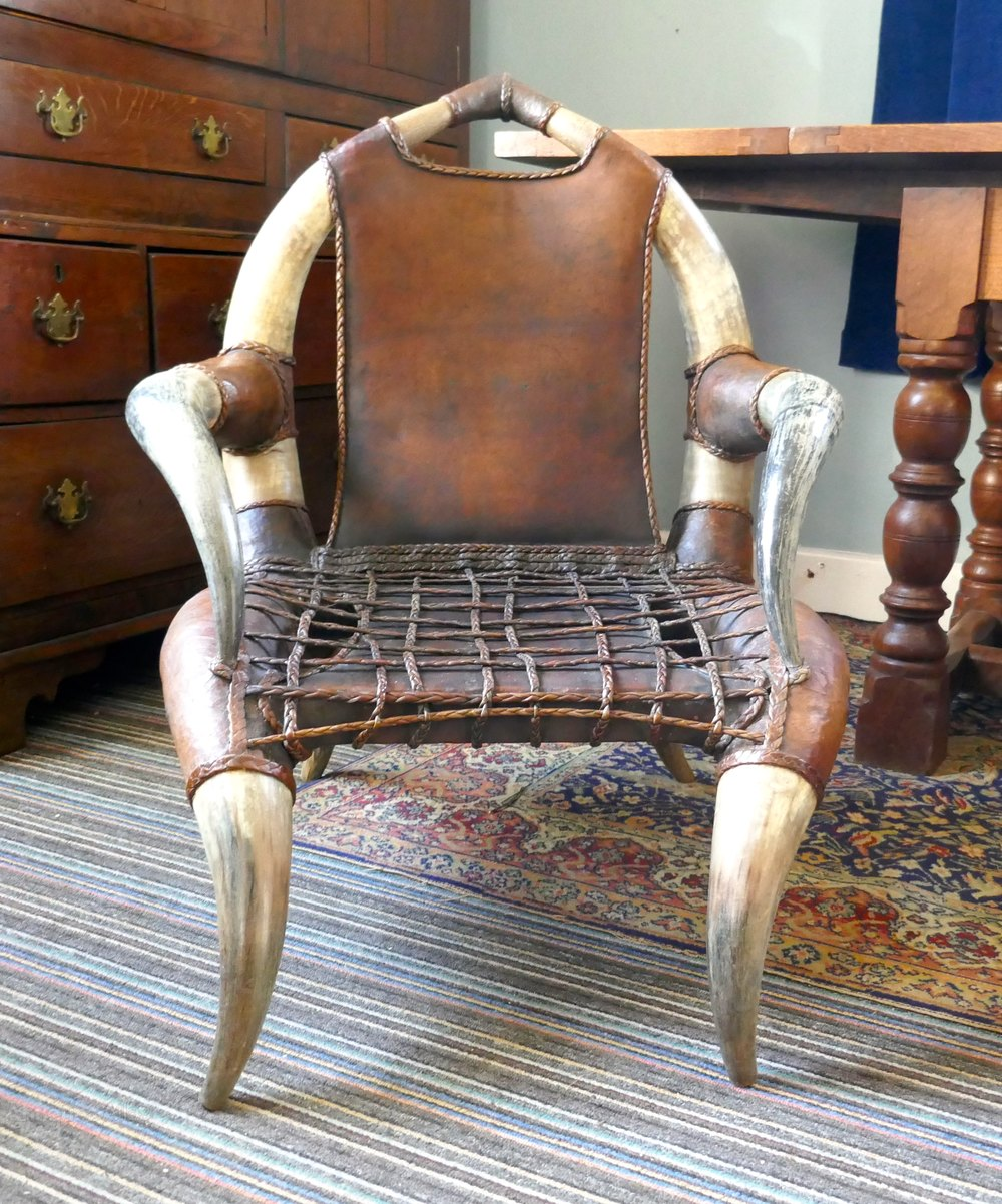 This pair of large burmese arm chairs is no longer available - Pair Of Large Bull Or Cow Horn Leather Arm Chairs Antique Armchairs Alt5