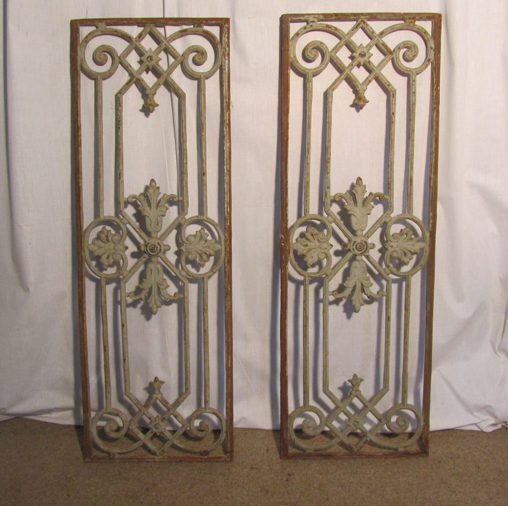 Pair of Large Shabby French Cast Iron Door Panels Antique ... - Antiques Atlas - Pair Of Large Shabby French Cast Iron Door Panels