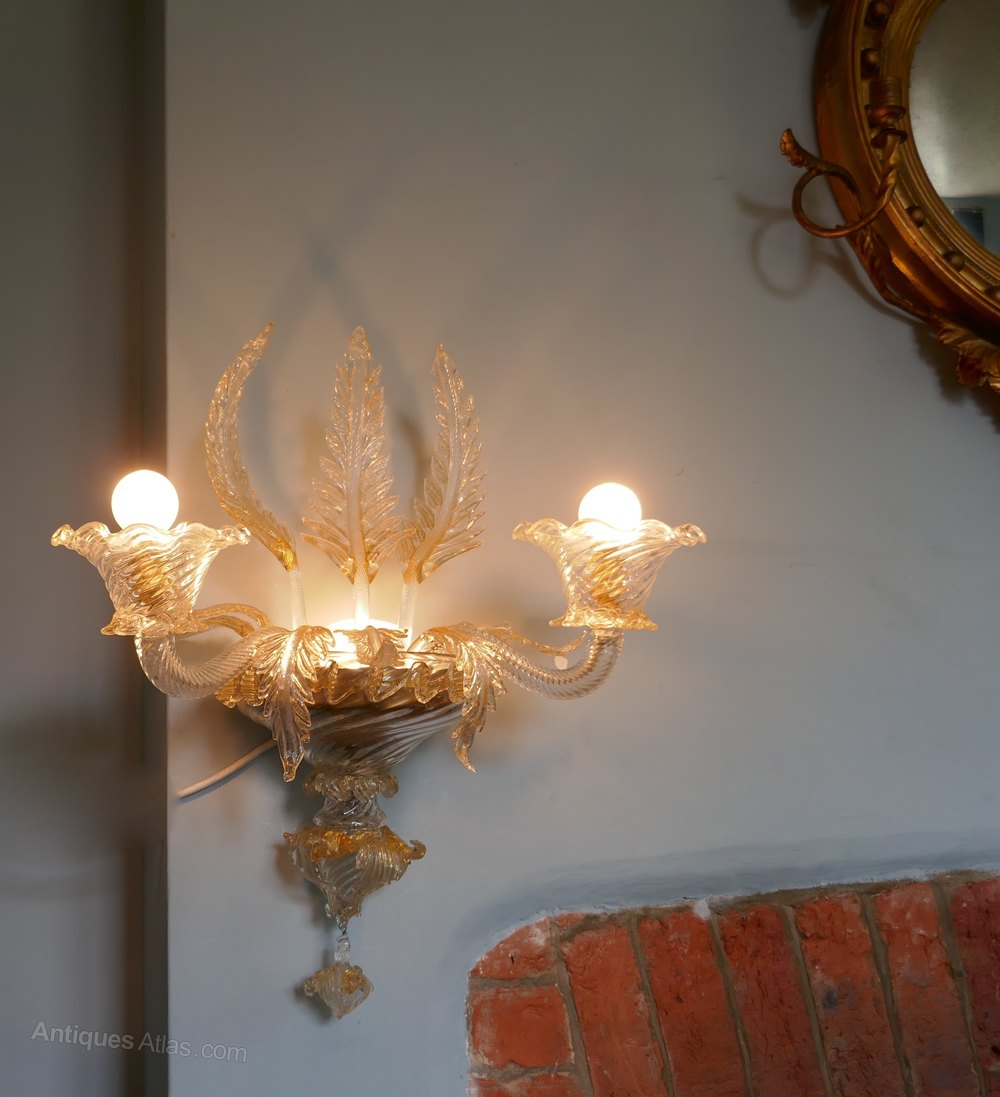 Venetian Glass Wall Lights : Antiques Atlas - Pair Of Superb Venetian Glass And Gilt Chandelier