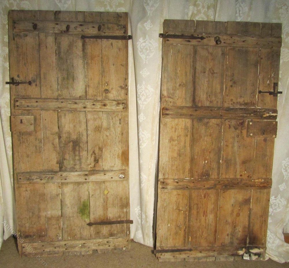 ... Plank Doors Antique Doors and Doorways & Antiques Atlas - Pair Of Very Rustic 18th Century Pine Plank Doors