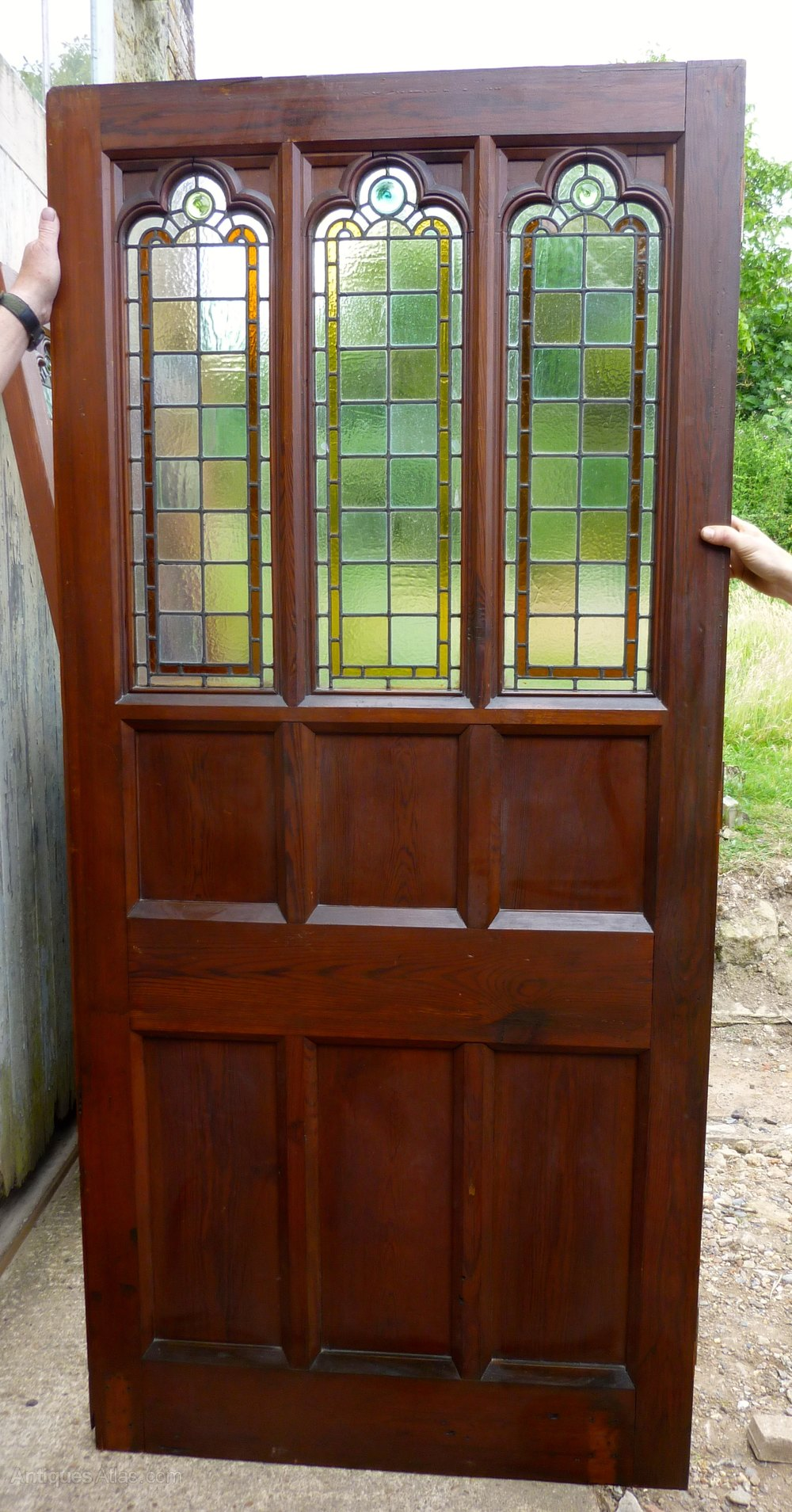Antiques Atlas Pine Door Stained Glass Room Divider Partition