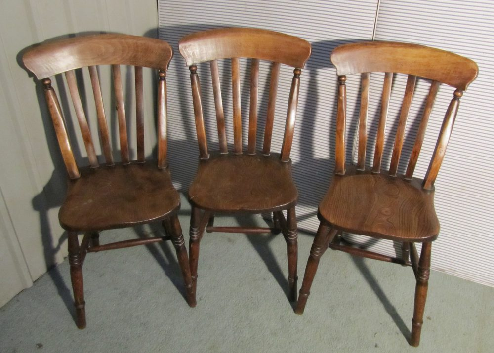Set 6 Victorian Slat Back Farmhouse Kitchen Chairs - Set 6 Victorian Slat  Back Farmhouse Kitchen - Antique Kitchen Chairs Antique Furniture