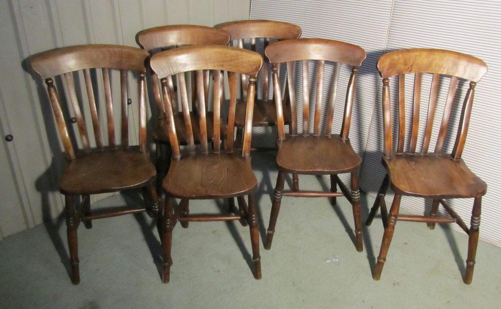 Set 6 Victorian Slat Back Farmhouse Kitchen Chairs