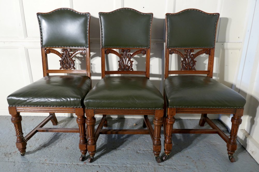 Set Of 11 Arts Amp Crafts Golden Oak Dining Chairs