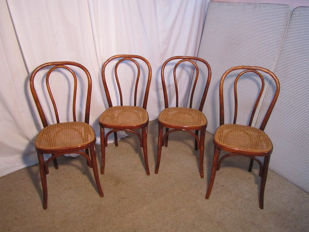 Set Of 4 French Bistro Or Cafe Bentwood Chairs ...
