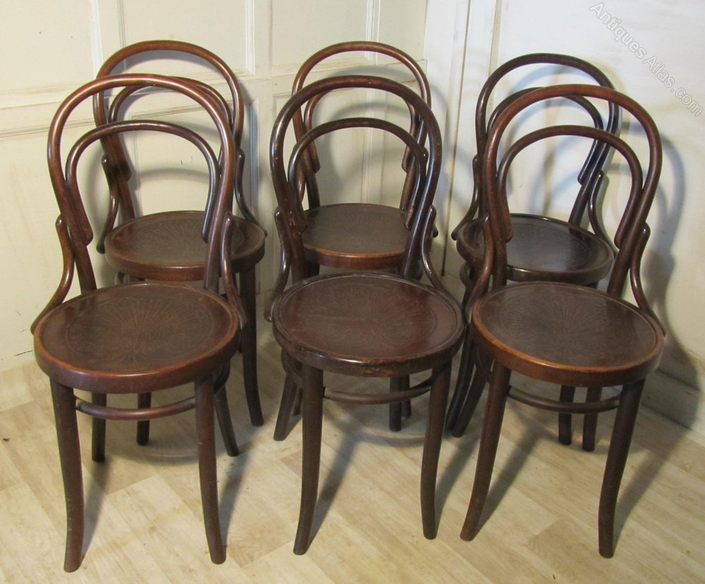 Antique thonet bentwood chair - Set Of 6 Thonet Bistro Bentwood Chairs Antique Bentwood Chairs