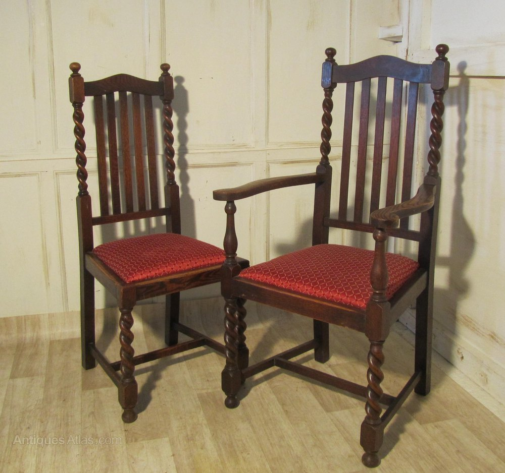 Set of 6 Victorian Barley Twist Oak Dining Chairs Chair Sets of 6 Antique  Dining Chairs - Set Of 6 Victorian Barley Twist Oak Dining Chairs - Antiques Atlas