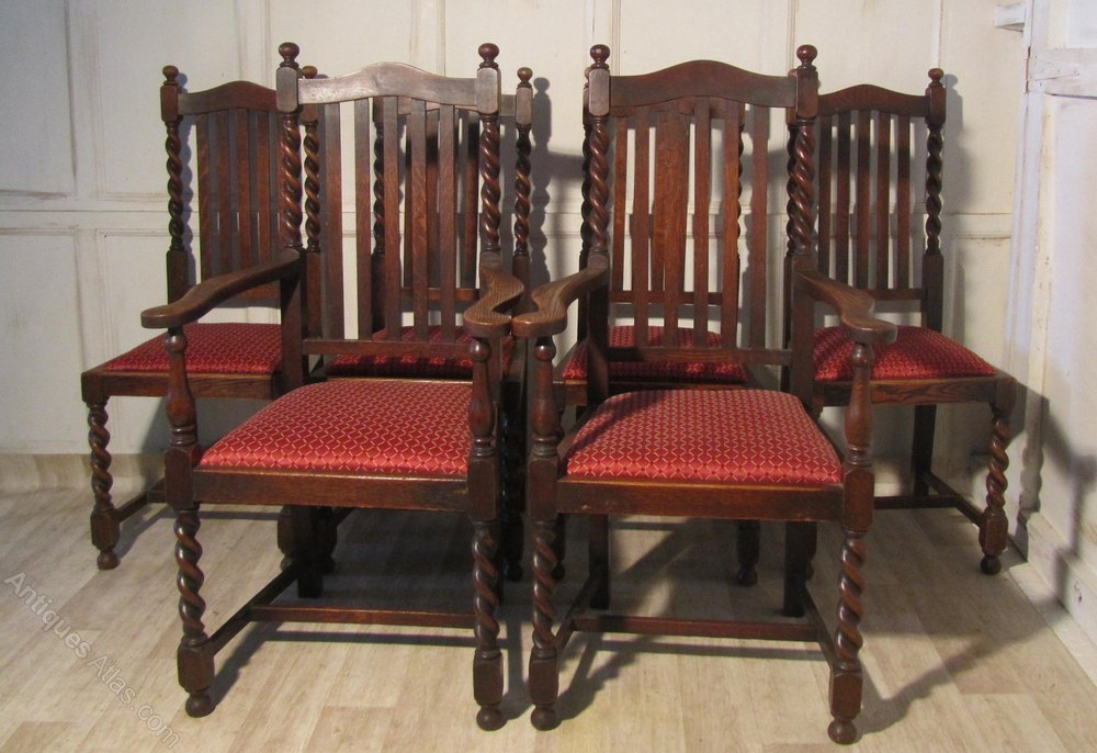 Set Of 6 Victorian Barley Twist Oak Dining Chairs
