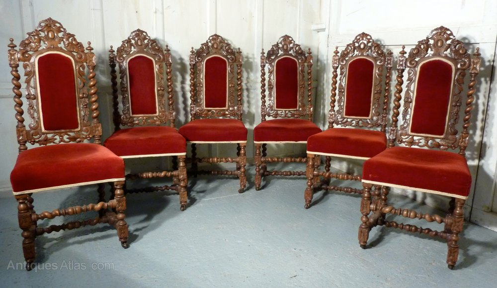 Set Of 6 Victorian Gothic Oak Dining Chairs