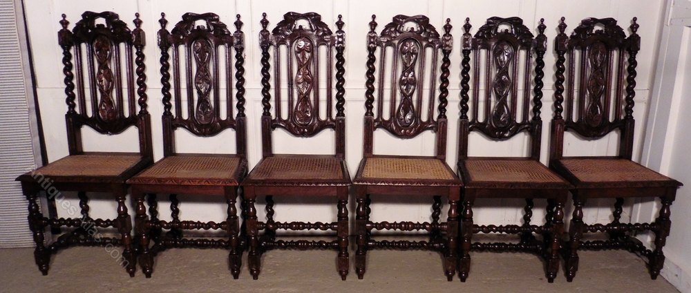 Set Of 6 Victorian Gothic Style Oak Dining Chairs ...