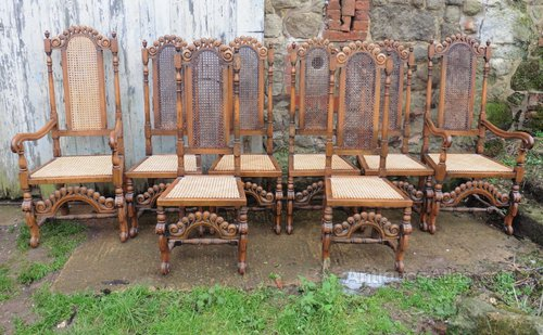 Set Of 8 Jacobean Gothic Oak Dining Chairs Antiques Atlas