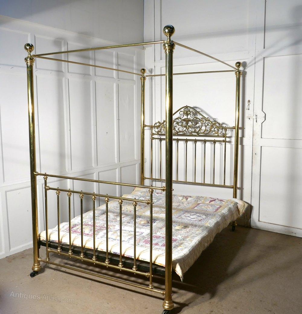 Victorian Art Nouveau 4 Poster Double Brass Bed Antiques Atlas