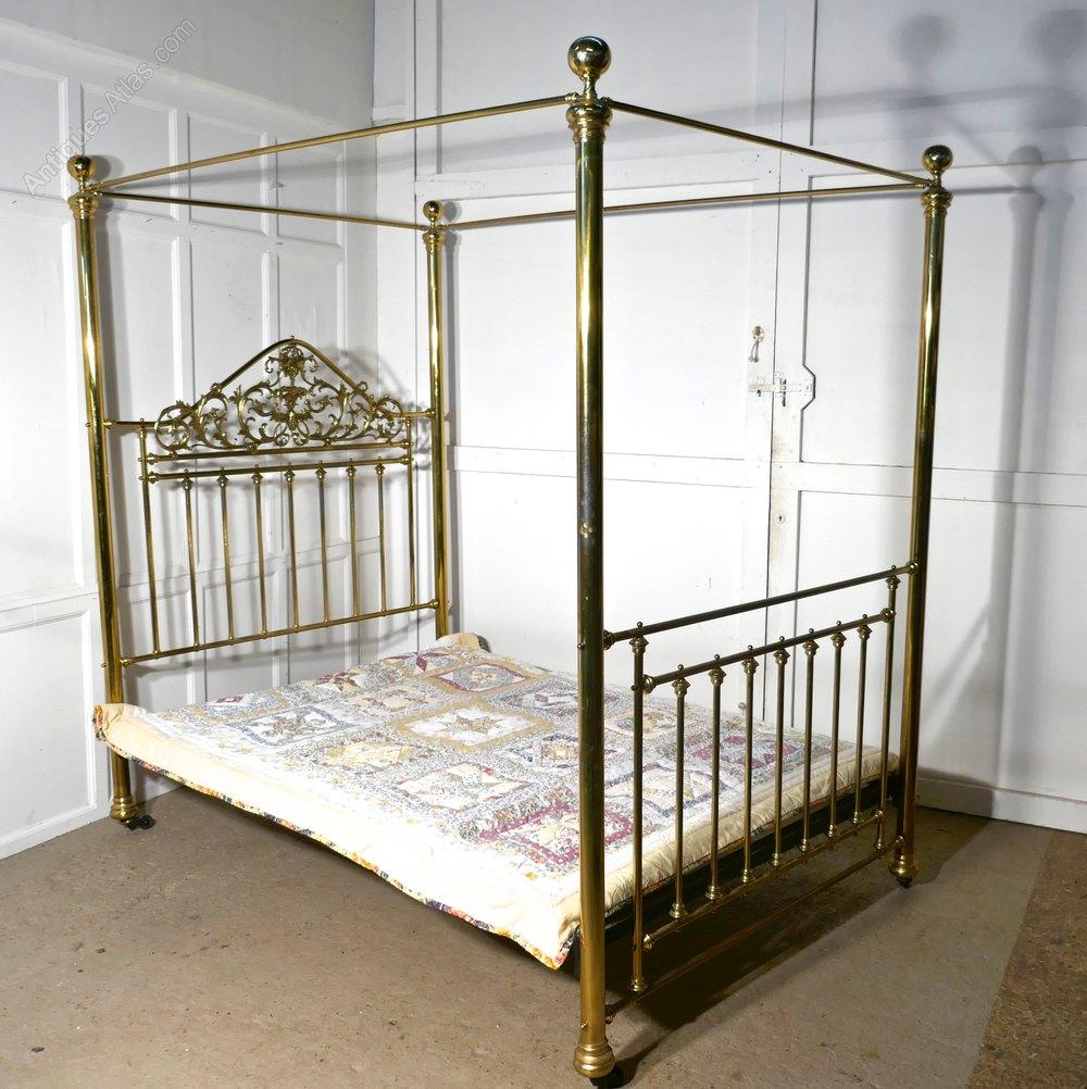 4 Poster Double Bed Part - 23: Victorian Art Nouveau 4 Poster Double Brass Bed ...