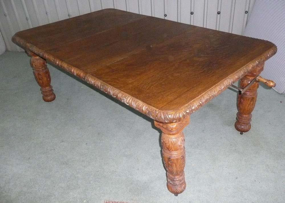 Victorian Carved Golden Oak Extending Dining Table