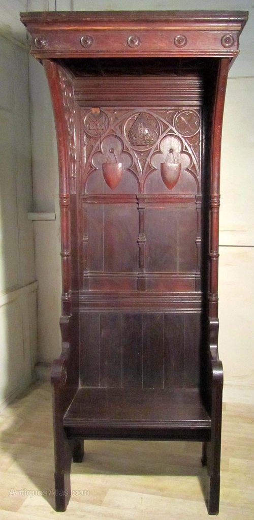 Victorian Carved Gothic Oak Bishops Chair Throne