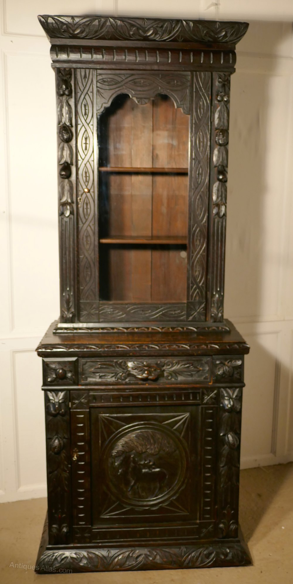 Victorian Carved Gothic Oak Bookcase Green Man Antiques