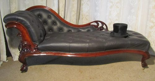 Victorian carved mahogany leather chaise longue antiques for Antique victorian chaise longue