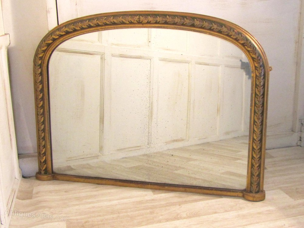 Victorian Painted And Gold Over Mantle Mirror Antique Overmantle Mirrors