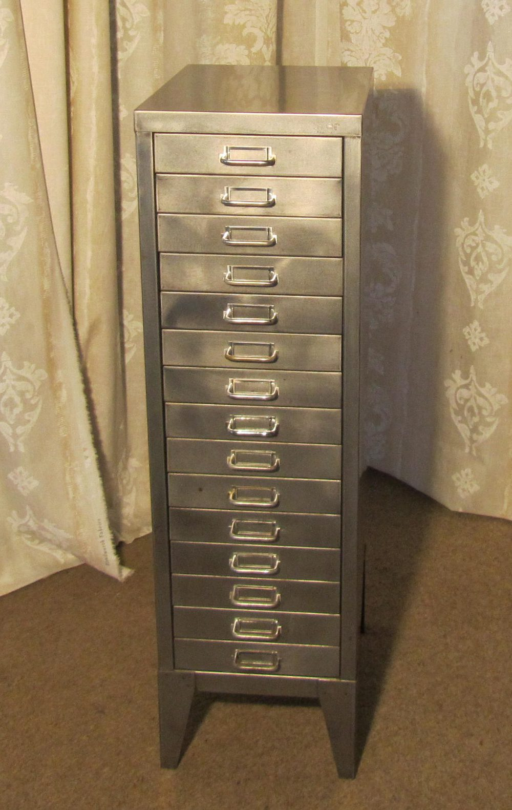 Vintage 20 Century Steel 15 Drawer Filing Cabinet