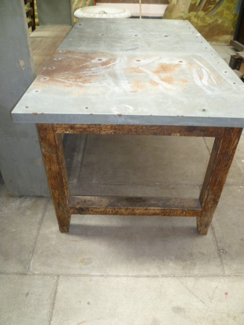 ANTIQUE PINE ZINC TOP TABLE Antiques Atlas - Marble top farm table