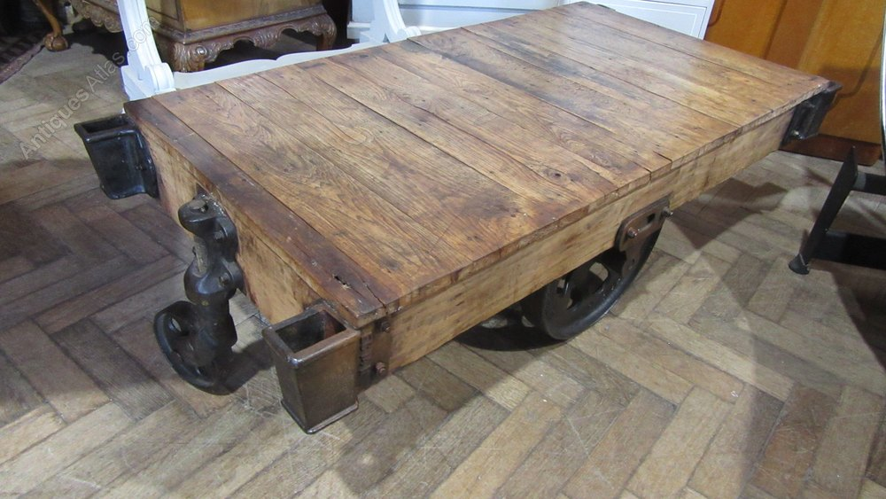 Antique Industrial Peanut Trolley Coffee Table