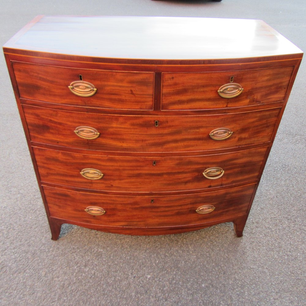 Antique Mahogany Bow Front Chest Of Drawers