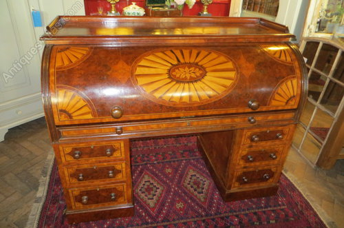Antique Victorian Inlaid Burr Walnut Cylinder Desk ... - Antique Victorian Inlaid Burr Walnut Cylinder Desk - Antiques Atlas