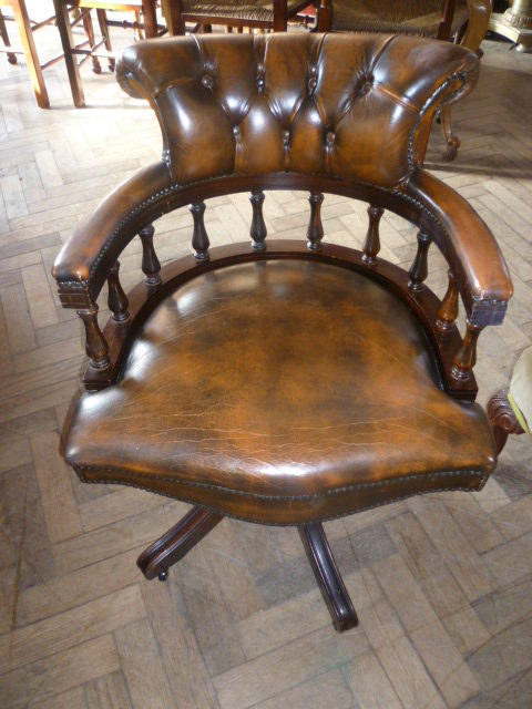 Antiques Atlas Deep Buttoned Leather Swivel Chair