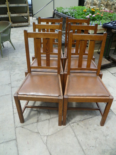 Merveilleux Set Of Six Antique Oak Dining Chairs ...