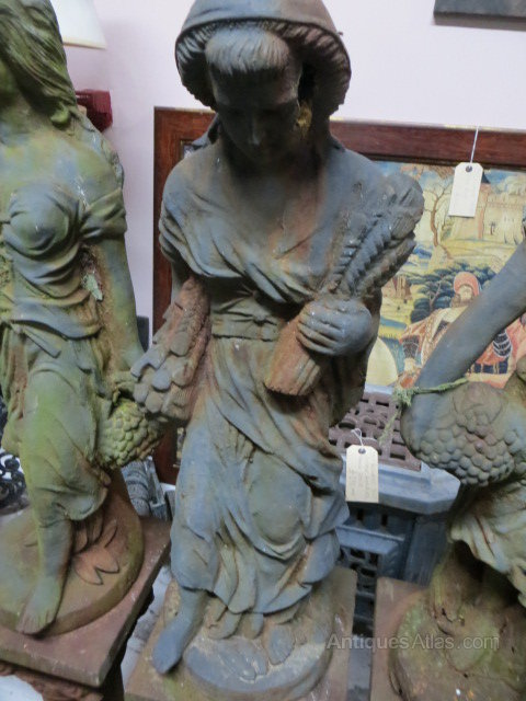 Set Of Four Cast Iron Four Seasons Statues Carved And Ornamental Stone  Decorative Garden ...