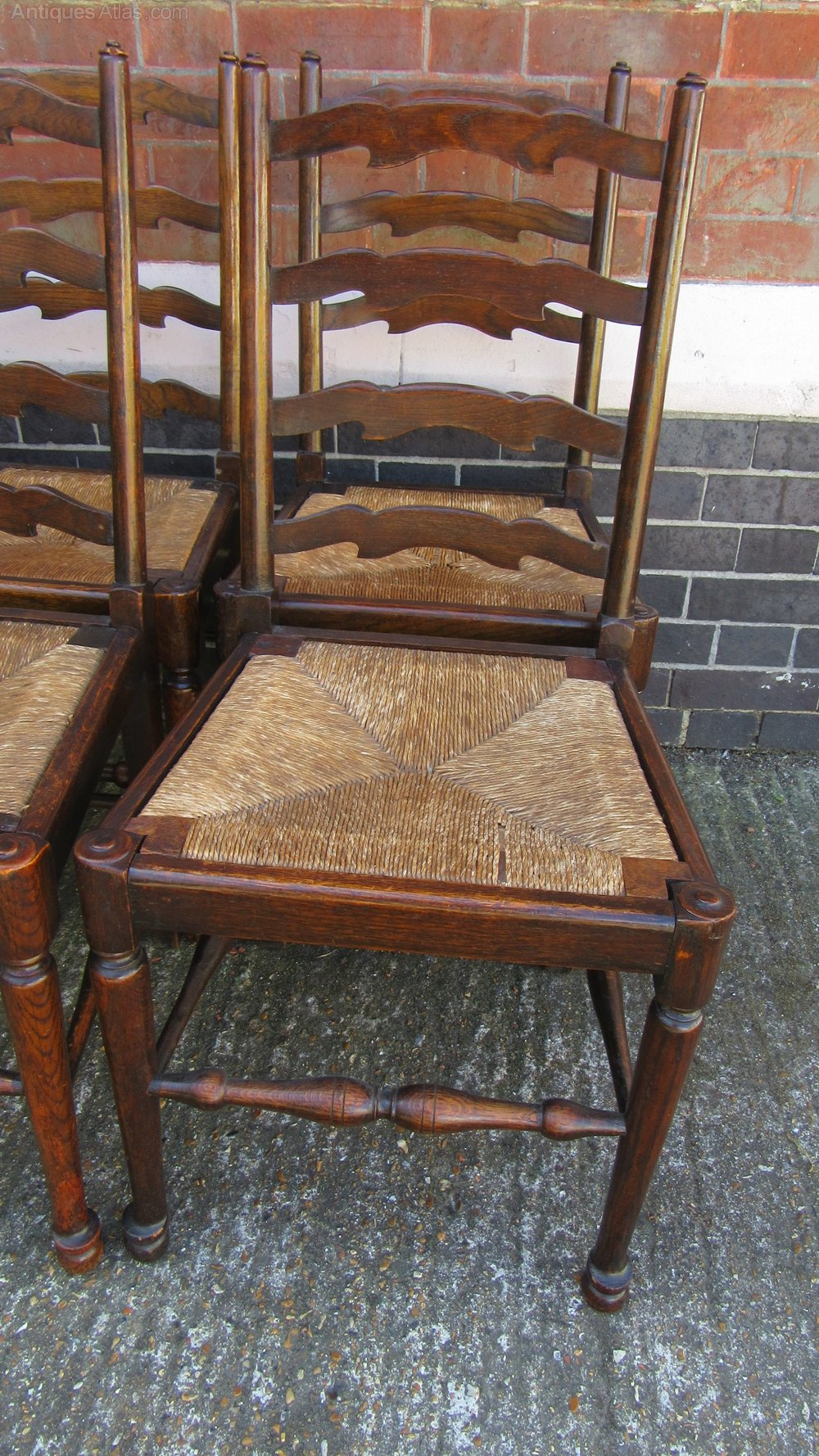 Set Of Eight Antique Oak Ladderback Dining Chairs Antiques Atlas