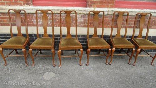 Pleasing Set Of Six Antique Queen Anne Style Oak Chairs Dailytribune Chair Design For Home Dailytribuneorg