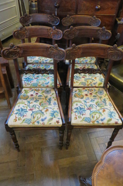 Set Of Six Antique Regency Tapestry Dining Chairs