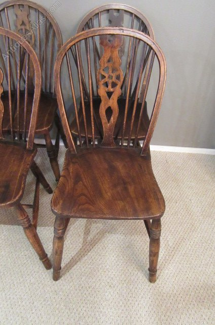 Set Of Six Country Oak Wheel Back Dining Chairs Antiques