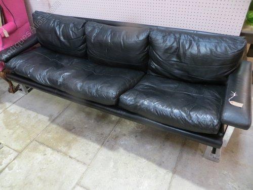 Vintage Black Leather Pieff Sofa