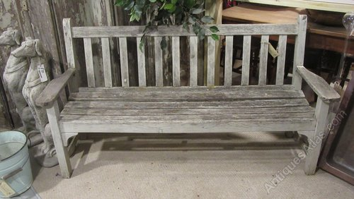 Antiques Atlas Vintage Weathered Teak Garden Bench