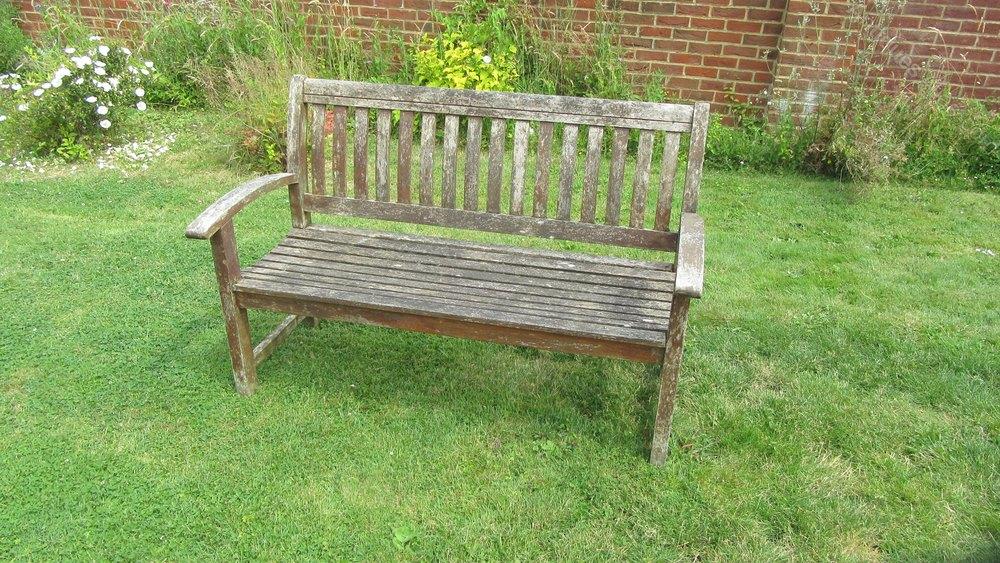 Vintage Weathered Teak Garden Bench