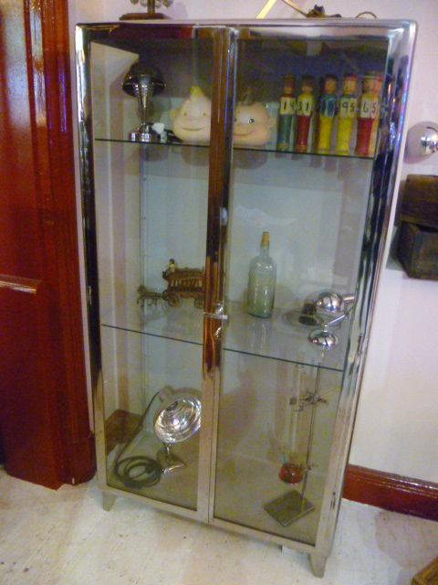 Vinage 1940s Polished Steel Medical Cabinet ...