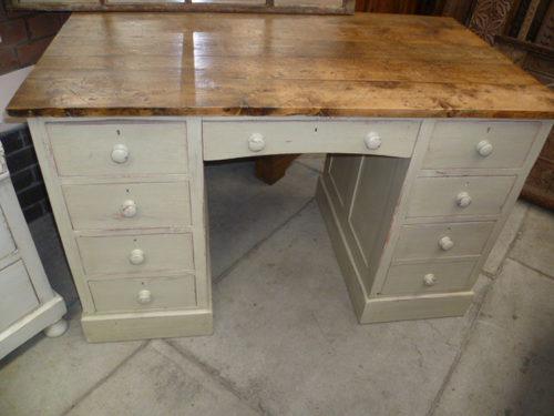 Vintage Painted Pine Pedastal Desk