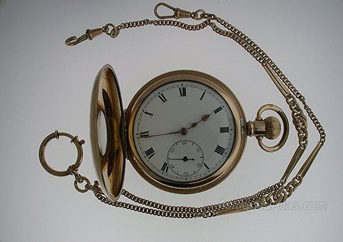 61a4cab3c Antiques Atlas - Gold Filled OMEGA Half Hunter Pocket Watch 1935