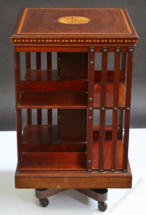 Antiques Antique Mahogany Inlaid Revolving Bookcase Antique Furniture