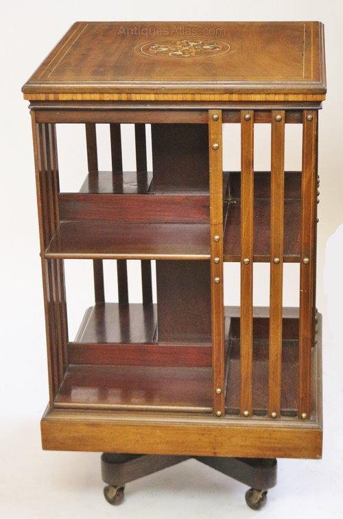 Edwardian (1901-1910) Antique Mahogany Inlaid Revolving Bookcase Antique Furniture